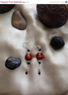 25% Off Orange Striped Glass Silver Foil Beaded Dangle Earrings with Black Jasper Beads, Swarovski Crystals, and Silver Lantern Beads