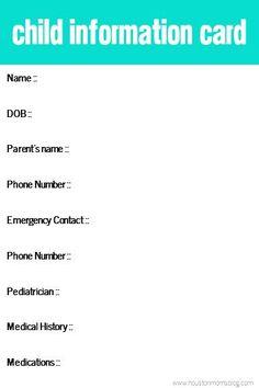 Child Information Card