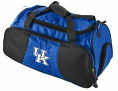 Kentucky Wildcats Gym Bag by Logo. $49.95. Ideal overnight bag. Embroidered team logo on front of bag. Two handles and a removable shoulder strap. Large front pocket includes holders for pens, ID, and coins. Large compartment for clothes with a separate pocket for shoes. Made of 600 denier polyester and measuring 21-Inch x 11-Inch x 12-Inch for ample storage, this gym bag features two handles and a removable shoulder strap to make carrying easy, plus luggage attachment band on th...