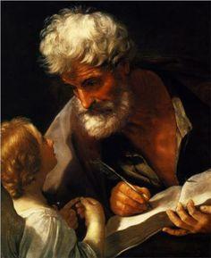Saint Matthew,    Artist: Guido Reni    Completion Date: 1621    Style: Baroque    Genre: religious painting    Technique: oil    Material: canvas    Dimensions: 78 x 65 cm