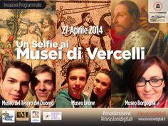 Domenica 27 aprile il Museo Leone, il Museo Borgogna e ilMuseo del Tesoro del Duomo accolgono i visitatori muniti di smartphone e tablet per un #SELFIEALMUSEO, per #INVASIONiDIGITALI A #VERCELLI percorso per scoprire la gestualità e la fisionomica nella iconografia, negli oggetti e nei ritratti attraverso la tecnica fotografica del #Selfie