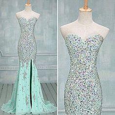 #promdress01 prom dresses - 2015 elegant sweetheart strapless light green side slit long beaded prom dress for teens, ball gown, wedding dress #prom2015 #weddings -> www.promdress01.c... #coniefox #2016prom