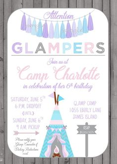 Glamping Campout Birthday Party Invitation for girl Teepee and Tassels Rustic Wood Background