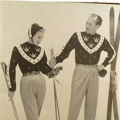 Vintage 1950s Ski Sweater Patterns Bear by RebeccasVintageSalon, $8.00