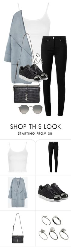 """Unbenannt #1467"" by tyra482 ❤ liked on Polyvore featuring Topshop, Versace, Zara, adidas Originals, Yves Saint Laurent, ASOS and Ray-Ban"