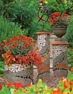 Eight, 10- and 18-inch-diameter PVC pipes cut to varying heights serve as the bases for these mosaic pillars. Overturned terra-cotta saucers turn two of the pipes into pedestals; the third cradles a flowerpot. More mosaic ideas : http://www.midwestliving.com/garden/ideas/create-mosaic-magic-in-your-garden/?page=12
