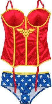 Wonder Woman Corset and Briefs Lingerie Set