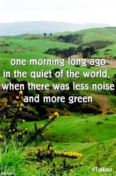 less noise and more green..... Tolkien, I love your way of putting things!!!