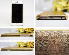 iPhone 6 Case GOLD Leather iPhone 6 Case Embossed by ShopLrSi