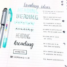 """@amelia_studies Day 4 of #aprilstudychallenge: Tuesday Tips! So I always get asked how to make notes nicer or more """"aesthetic"""" and tbh it's actually quite simple! I don't spend much time decorating my notes but I find that a nicer or bolder title really makes such a big differences to your notes! Here are some simple heading ideas that you can do with just a pen and a highlighter! You can tell that these are all my favourites as I use them quite frequently! Which ones do you like best?"""