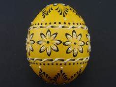 Easter Egg with Flowers,  Wax Embossed Pysanka in Yellow, Decorated Chicken Egg
