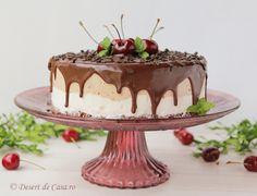 Tort de inghetata cu cirese si ciocolata - Desert De Casa - Maria Popa Something Sweet, Tiramisu, Biscuit, Pudding, Sweets, Ethnic Recipes, Desserts, Food, Houses