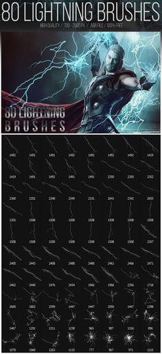 Free Lightning Photoshop Brushes (80 Brushes)