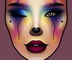 Clown Halloween, Halloween Face Makeup, Crazy Makeup, Cute Makeup, Makeup Inspo, Makeup Inspiration, Airbrush Makeup Kit, Makeup Face Charts, Beauty Make Up