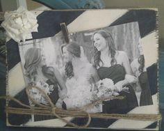 Adorable Distressed 5x7 Cream and Navy Wood Board Frame with White Paper Flower and Twine Great for Bridesmaids Gifts
