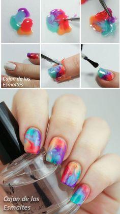 Dry o Drag marble nail art tutorial Decoración de uñas con marmolado en seco,