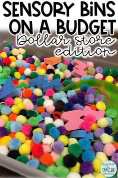 Sensory Bins on a Budget - Dollar Store Edition! Utilizing sensory bins can get expensive. but it doesn't have to! Check out this list of dollar store finds for setting up your sensory bins on a Sensory Wall, Sensory Boards, Sensory Activities, Infant Activities, Educational Activities, Preschool Activities, Sensory Tubs, Sensory Rooms, Sensory Diet