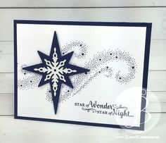 Christmas card made using Stampin' Up! Star of Light bundle in Night of Navy by Queen B Creations