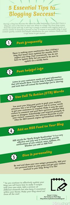 """Infographic ~ 5 Essential Tips to Blogging Success!"" @ http://www.myfashionemallblog.net/infographic-5-essential-tips-to-blogging-success/"