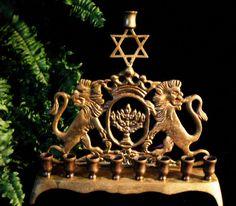 Menorah brass Lions of Judah Chanukah Judaica by AuntieQsAttic