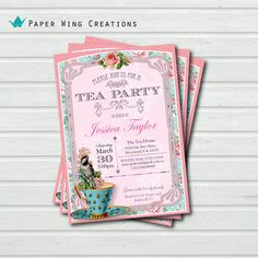 Printable High Tea Party Invitation. by ThePaperWingCreation, $15.00