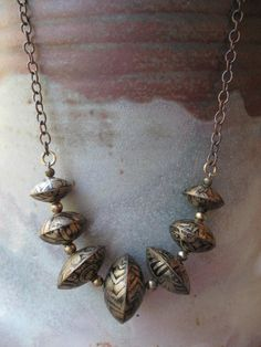Seven Bead Etched Brass Necklace. $48.00, via Etsy.