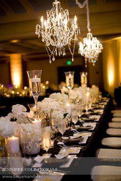 wedding chandeliers Timeless Black & White US Grant Wedding, Part Two  jennifer cole florals
