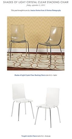 COPY CAT CHIC FIND: Shades of Light Crystal Clear Stacking Chairs VS Target's Acrylic Chairs