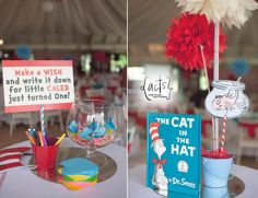 Wishing fish bowl and Cat in the Hat centerpiece display for a Dr Seuss Theme Birthday Party    actscreatives@gmail.com (Manila)