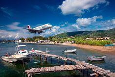 """""""Spectacular landing"""" by Hercules Milas Skiathos Island, Airplane Landing, Greek Islands, Hercules, Long Hoodie, Marina Bay Sands, Travel Bags, Greece, Birds"""