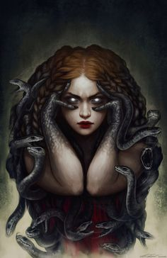 Les ombres de Barcelone Medusa, Snake, Darkness, Dark, Obscurity, Artwork #Art #Beauty #Creature