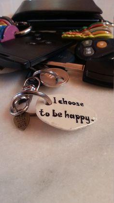 Happy Stone Keychain Motivational Keyring River by LivingPebble