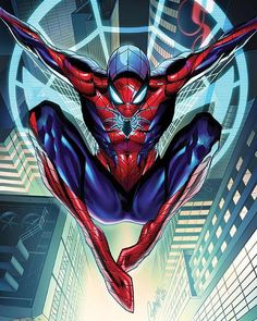 """One of TWO of my variants for the upcoming All NEW, slick and etched-out """"Amazing Spider-Man"""" #1 from @marvel , debuting next month! With gorgeous colors by @neiruffino ! #spiderman #amazingspiderman #marvel #peterparker #drawing #comics #comicbook #art #jscottcampbell #inking #sketching"""