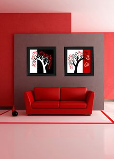 Hangings Wall Art - 40cmx40cm x 2 piece AN100 DESIGN - T series Tree Canvas, Hanging Wall Art, Minimalism, Backdrops, Mixed Media, Colours, Abstract, Furniture, Design