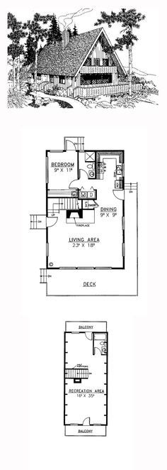 A-Frame House Plan 99707 | Total Living Area: 1476 sq. ft., 1 bedroom and 2 bathrooms. #aframe