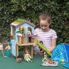 Wooden Dollhouse, Wooden Dolls, Child Doll, Boy Doll, Girl Dolls, Barbie, Wooden Tree House, Doll House Play, Rope Ladder