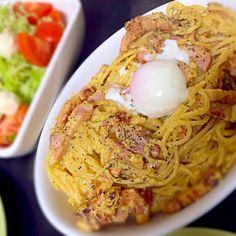 厚切りベーコン 生クリーム 粉チーズ 卵でおいしく仕上がりました(^^) - 22件のもぐもぐ - シェアパスタ。カルボナーラ by nikolai