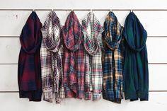 Hooded Flannel Plaid Shirts.