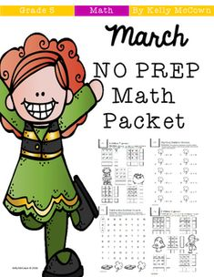 This March Math NO PREP packet that will keep your fifth graders engaged! This packet is just plain fun. Not only is it PACKED with fifth-grade common core math problems, it also gives students fun coloring, puzzles, and problem solving. Use this packet for bellwork, classwork, extra credit, fast finishers, or homework! ***************************************************************************Other 5th Grade NO PREP Math Packets: Back To School NO PREP Math Packet - 5th GradeOctober NO…