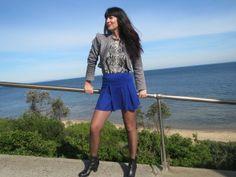 mini flip skirt, Zara python top