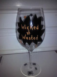 Items similar to Hand painted Halloween wine glass. on Etsy