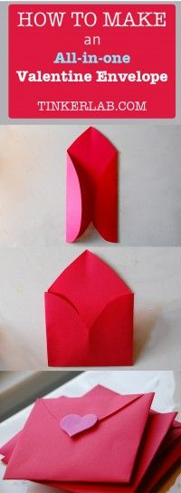 How to make an All In One Valentine Heart Envelope...Write a note on a heart and fold it up. Ready to send!  Instructions included.