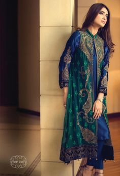 Buy NavyBlue/Dark Green Embroidered Chinese Chiffon Gown Style Dress by Maria B… Pakistani Gowns, Pakistani Outfits, Indian Outfits, Gown Style Dress, Indian Attire, Indian Designer Wear, Saris, Indian Dresses, Asian Fashion