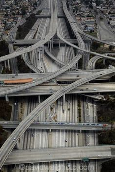 Los Angeles, Aerial of Judge Harry Pregerson Interchange and Highway Travel Photographic Print - 41 x 61 cm Highway Road, Highway To Hell, City Of Angels, Los Angeles California, Aerial Photography, Places To See, Paths, Scenery, Around The Worlds