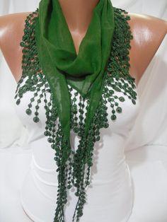 Women  Green Cotton Shawl/ Scarf  Headband  Cowl with by DIDUCI, $14.50