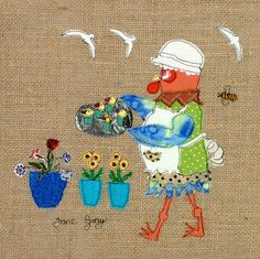 """Original Chicken Art on Hessian by Lady Jane Gray - Humorous Chickens """"Cluck Cakes"""""""