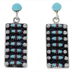Turquoise And Coral Southwestern Post Dangle Earrings PX32857 $79.99