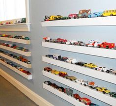 toy cars and trucks shelves! My son needs this!