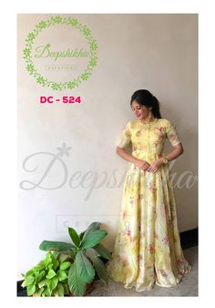 DC - 524 For queries kindly WhatsApp: 9059683293 Saree Gown, Sari Dress, Anarkali Dress, Lehenga Blouse, Indian Designer Outfits, Designer Dresses, Indian Designers, Long Frocks For Girls, Long Gown Dress