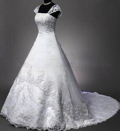 New White/Ivory Lace Wedding Dress Long Bridal Gown Custom Size 6 8 10 12 14 Wedding Gown A Line, Ivory Lace Wedding Dress, Custom Wedding Dress, Wedding Dress Sizes, Formal Dresses For Weddings, Bridal Wedding Dresses, Floral Wedding, Wedding Colours, Wedding Bells